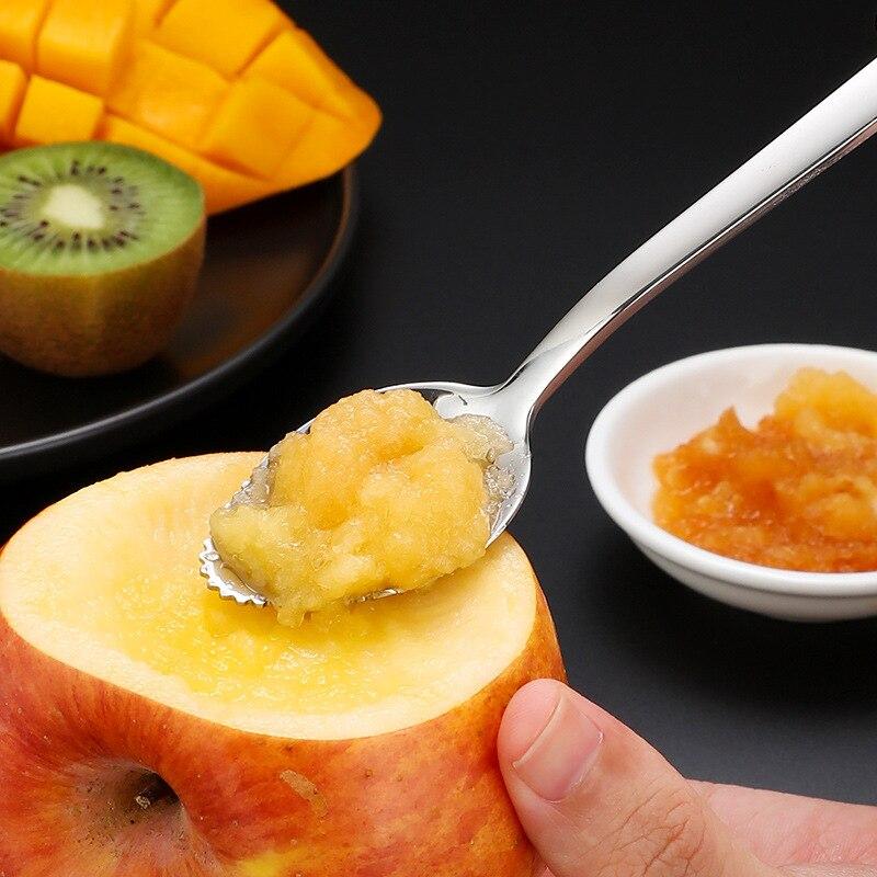 Espessa suave colher de toranja de aço inoxidável colher de sobremesa borda serrilhada corte frutas cozinha gadget cozinhar ferramentas