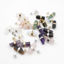 Оптовая продажа серьги гвоздики из натурального камня с геометрическим