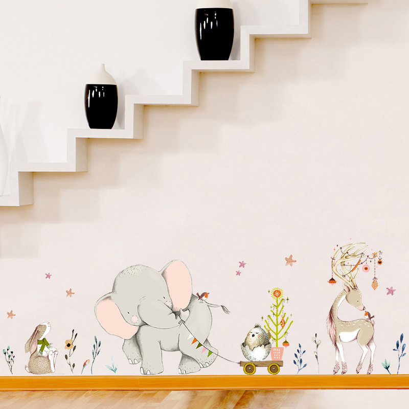 Happy Baby Elephant Bunny Fawn Wall Stickers Kids Baby Room Decoration Art Nursery Mural Cartoon Animals Stickers Home Wallpaper
