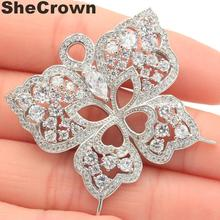 37x37mm Long Big Heavy 11.6g Butterfly White Sapphire Woman's Party Silver Brooch