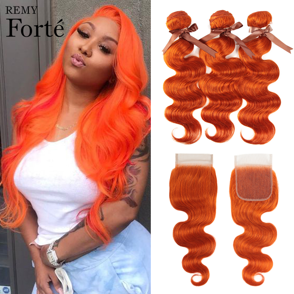 Remy Forte Body Wave Bundles With Closure Blonde Bundles With Closure Peruvian Hair Weave Bundles Orange 3 Bundles With Closure