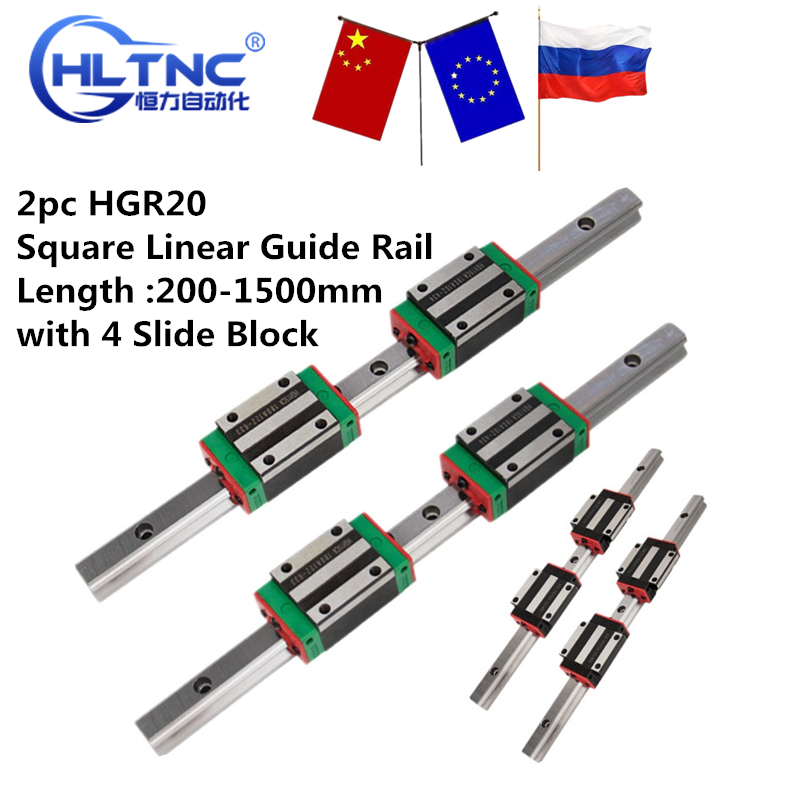 Rail Carriages Linear-Guide Engraving Square Cnc Router HGH20 4-Slide-Block 200-1500mm