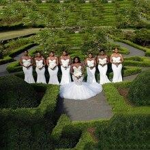 Modest White Spaghetti Straps Bridesmaid Dresses Ruched Slee
