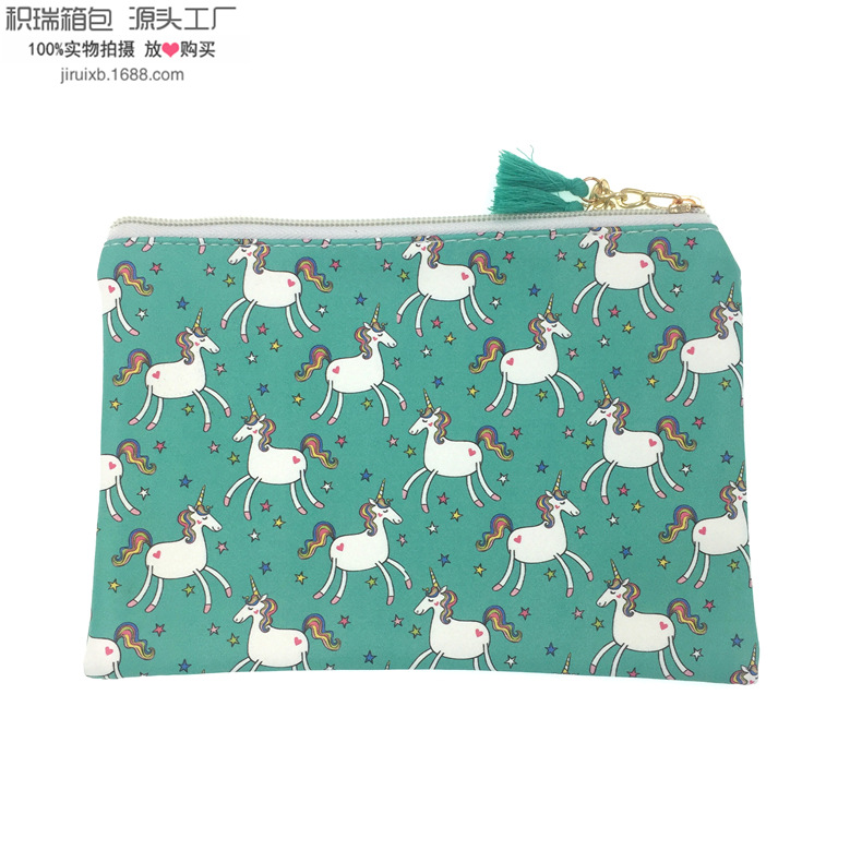 Hot Sales New Style PU Strip Tassels Unicorn Purse Carrying Purse Document Package Cosmetic Bag Batch
