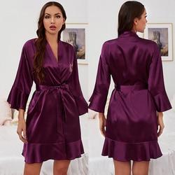 Women's Pajamas Bride Bridesmaid Elegant Sleepwear Sexy Lace Women Dressing Gown Bathrobe Kimono Silk Bath Robe Sleep Lounge