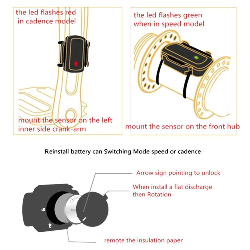 Bike Speed Sensor & Cadence Sensor Dual-mode Wireless Pedaling Speed Sensor 2 In 1