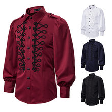 Halloween Costumes for Men's Punk Gothic Steampunk Shirt Club Party Evening Victorian Renaissance Shirts Casual Blouse Tops(China)