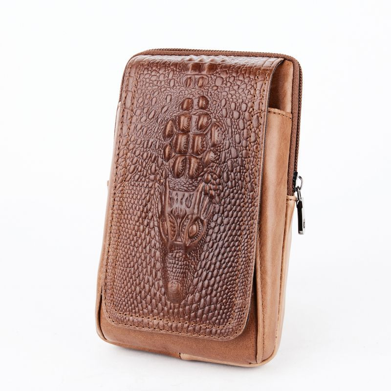 Vintage Men's Leather Cell Phone Running Bag Wear Leather Belt Verticle Multi-functional Crocodile Ultra-Thin Mobile Phone Bag