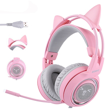Somic G951 Pink G238PINK USB 7.1 Wired Cute Wired E Sports Gaming Headset LED Noise Cancelling Gaming Headphone w/ Microphone