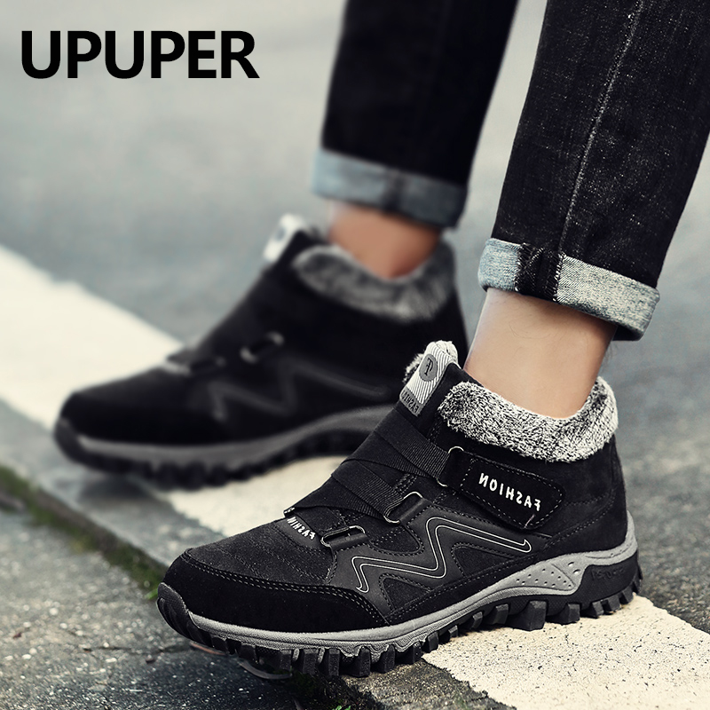 UPUPER 2019 Winter Fur Warm Men Boots Unisex High Quality Suede Leather Ankle Snow Boots With Plush Sneakers Boots For Male