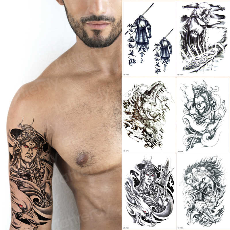 Temporary Tatoo Men Chinese Characters Arm Sleeve Tattoo Designs For Mens Fake Tattoo Sticker 6pcs Lot Wholesale Black Big Size Aliexpress