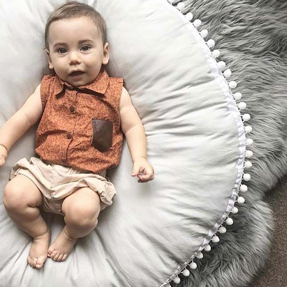 Baby Crawling Blanket Floor Carpet For Kids Room Mats Soft Round Cotton Padded Playmat Children Newborn Girl Boy Play Mat Gifts