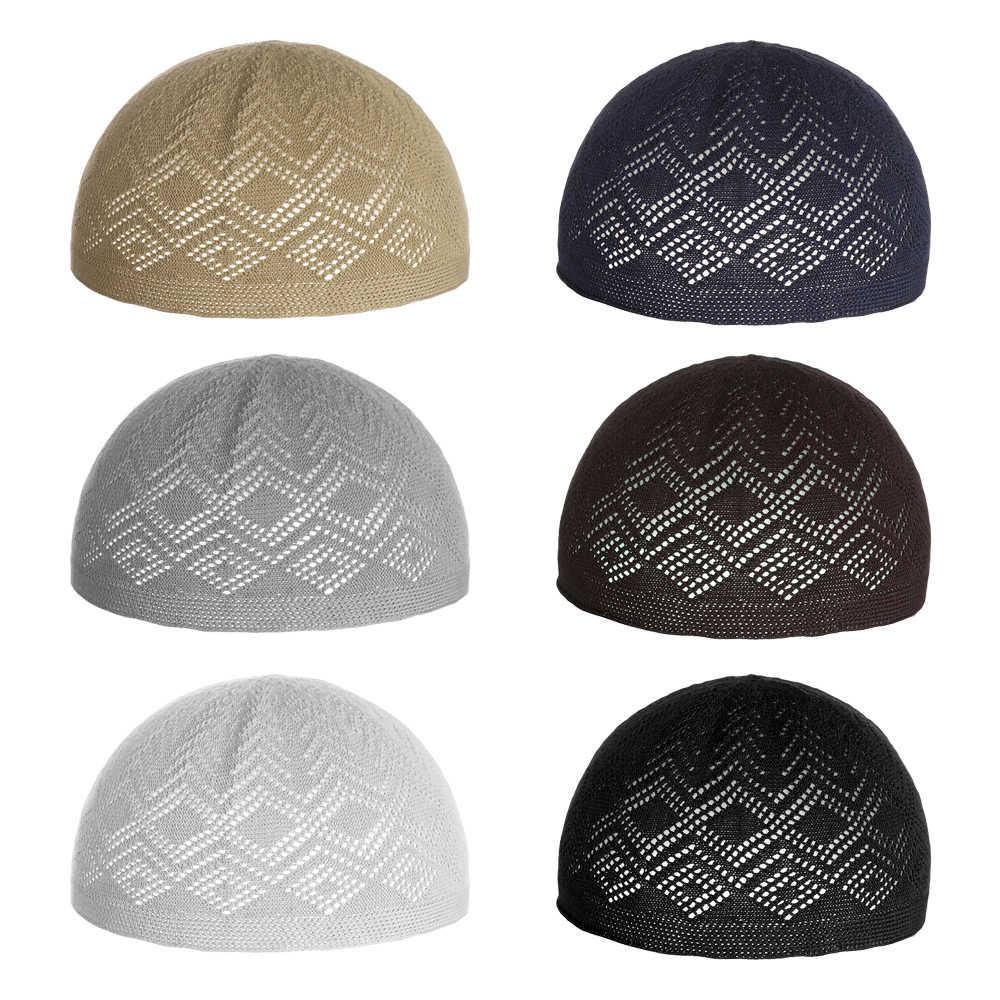 ผู้ชายใหม่มุสลิมหมวกผ้าฝ้ายถักหมวกกะโหลกศีรษะหมวกมุสลิมอิสลามสวดมนต์หมวกสวมลำลองชายหมวก