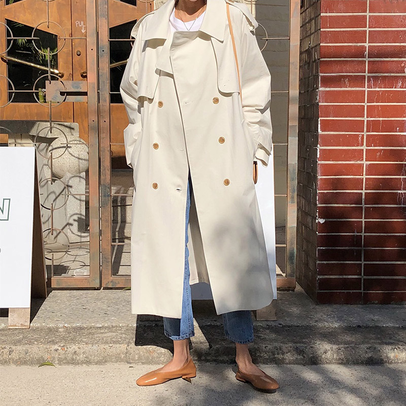 2020 New Double-Breasted Women   Trench   Coat With Belt Loose Long Windbreaker Female Spring Chic Outerwear Korean Women Clothes FY