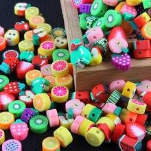 50 unidades/pacote cor mista frutas estilo animal polímero argila espaçador contas diy colar pulseira brinco jóias descobertas fazendo