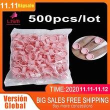 500 sztuk różowy jednorazowe Anel Batoque Microblading tusz do tatuażu pierścień Cap Pigment kubki klej pojemnik do przechowywania szczepienia rzęs średnie