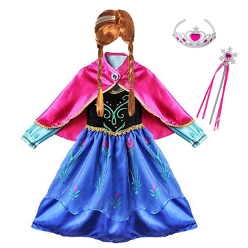 Girls Ana elza Princess Dress Kids Costume with Cloak Children Cosplay Clothes Carnival Halloween Birthday Party Fancy Dress up princess bell dress purple mesh beauty and the beast a line cosplay dress kids carnival costume halloween party show vestido