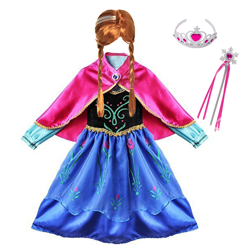 Girls Anna Elsa Princess Dress Kids Costume With Cloak Children Cosplay Clothes Carnival Halloween Birthday Party Fancy Dress Up