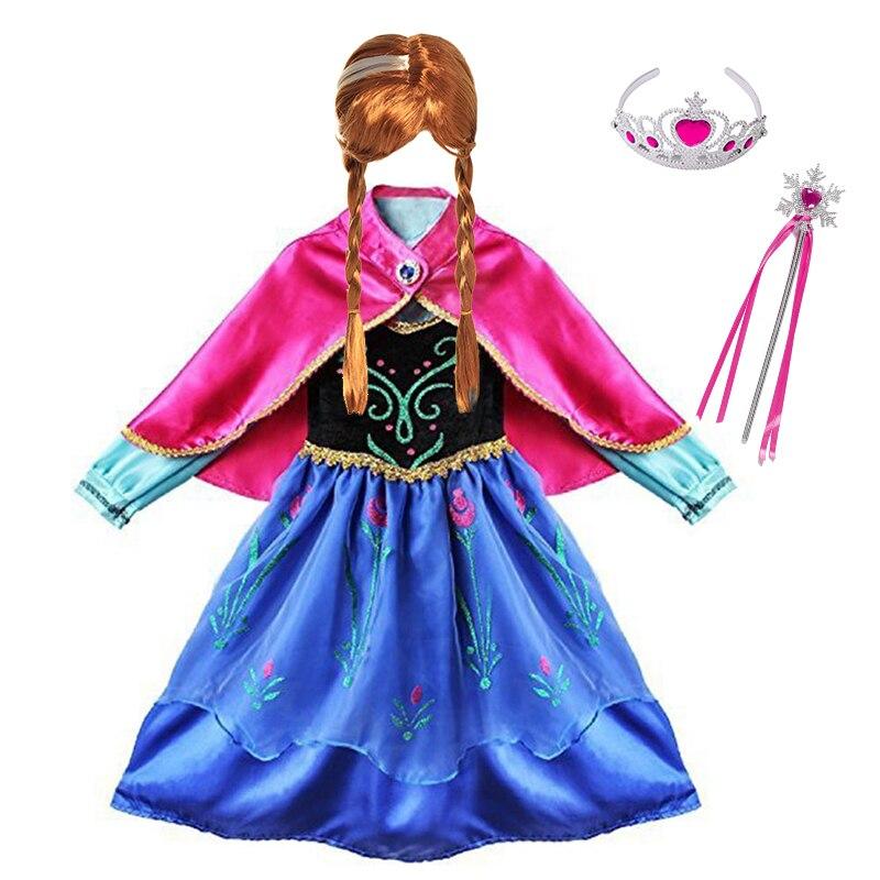 Meninas anna elsa princesa vestido crianças traje com capa crianças cosplay roupas carnaval dia das bruxas festa de aniversário fantasia vestir-se