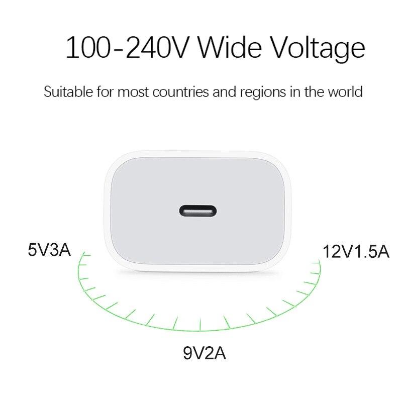 Зарядное устройство USB Type-C PD 18 Вт, адаптер для iPhone 12 11 Pro XS Max 7 8 QC3.0 PD, быстрая зарядка питания Type-C, вилка европейского стандарта для Samsung, Xiaomi-3