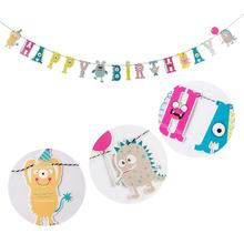 Little Monster Happy Birthday Party Banner Garland Boys First Decorations Baby Shower