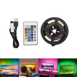 Bande LED USB DC 5V 1M 2M 3M 4M 5M 24Key Flexible lumière led ruban ruban lampe SMD 2835 bureau décor écran TV éclairage de fond
