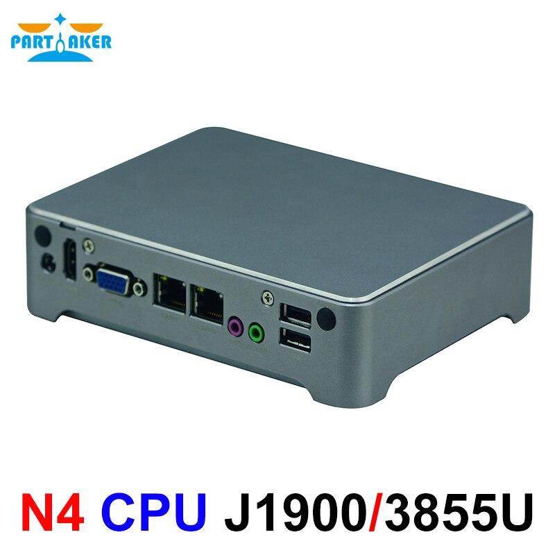 Partaker N4 Nano ITX Fanless Mini PC Intel Celeron J1900 3855U HDMI VGA Wifi/3G Linux DC12V Linxu Windwows 10