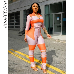 BOOFEENAA Color Block Fashion Printed Sweatsuits for Women 2 Piece Set Long Sleeve Top and Pants Sporty Tracksuits C87-EZ30