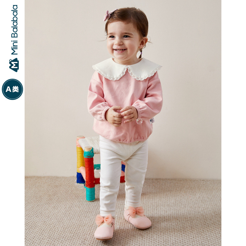 Mini Bababala Baby Girl Long Sleeve Two Pieces 2020 Spring New Baby Elastic Casual Two Piece Set