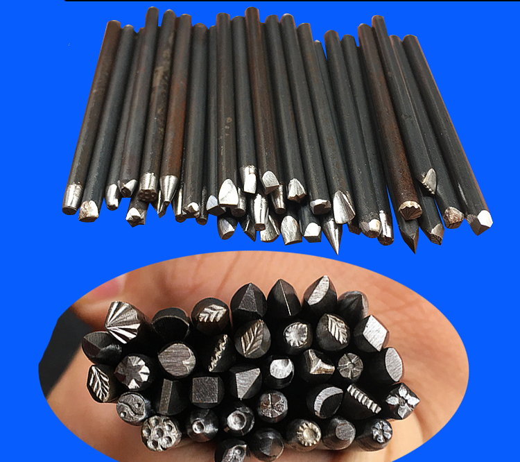 36pcs 4mm Steel Punches Flower Punch Stamp Set For Leather Printing Tool Jewelry Metal Stamping DIY Tool