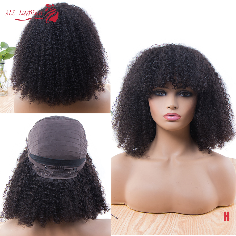 Mongolian Afro Kinky Curly Wig Full Machine Wigs Natural Pre Plucked 180% Human Hair Wigs For Black Women With Bangs Remy Wigs