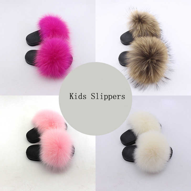 2020 Olomm Kids Real Vos Slippers Wasbeer Slides Chinelos Menina Slippers Peuter Baby Meisjes Schoenen Zomer Slippers Slippers