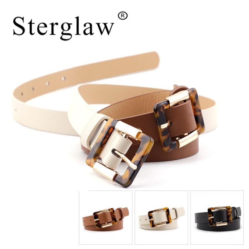 104x2.3cmBlack Brown White Belts For Women Waist Belt Lady Leopard Buckle Studengt Waistband Women 2020 Sinturones De Mujer N208
