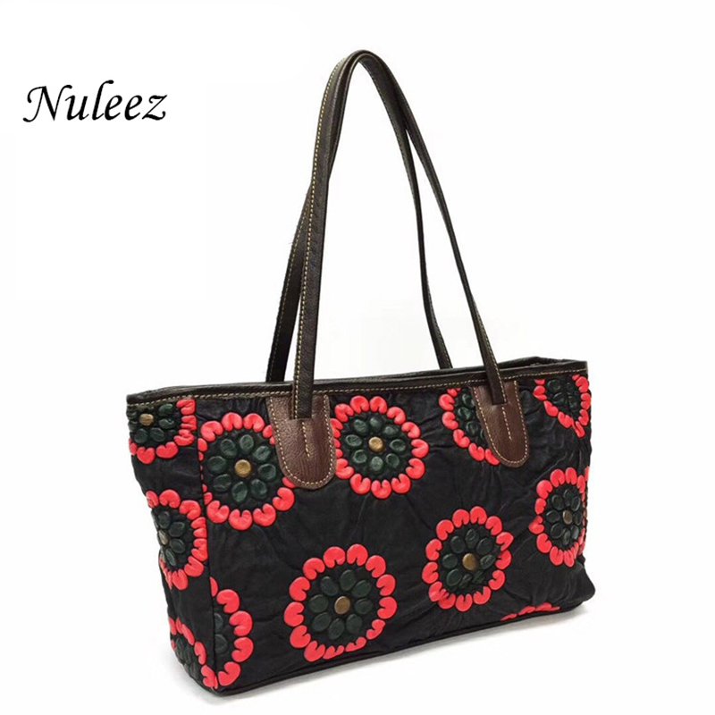 Nuleez genuine sheepskin women tote-bag soft large capacity colorful  colored  drawing shopping bag 2018 new style