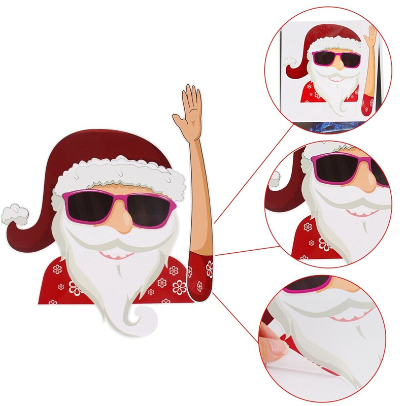 Image 4 - 2019 New Car Accessories Christmas Auto Decorations DIY Car Sticker Windshield Santa Claus Cute Window Decals Car Wiper Sticker-in Car Stickers from Automobiles & Motorcycles