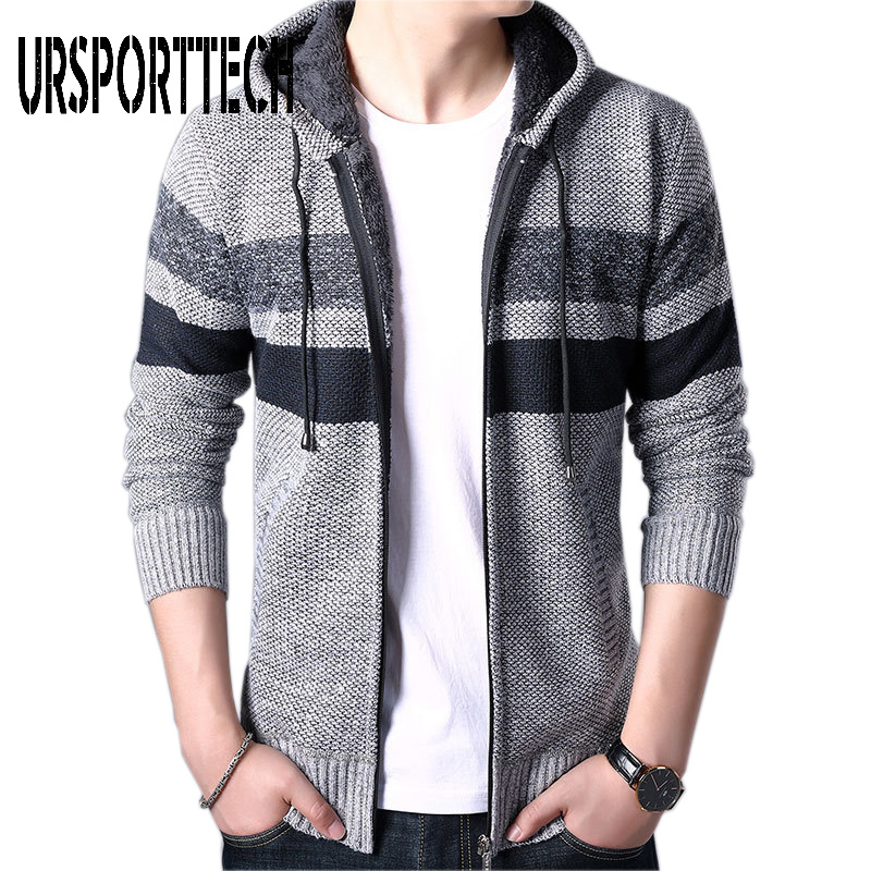 Spring Autumn Knitted Sweater Men Zipper Baseball Stand Collar Knitwear Sweatercoat Casual Striped Hooded Coat Casaco Masculina