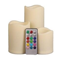 3 шт. набор СВЕТОДИОДНЫЙ многоцветный ed беспламенные электронные свечи на открытом воздухе и в помещении изменение цвета свечи светильник с...