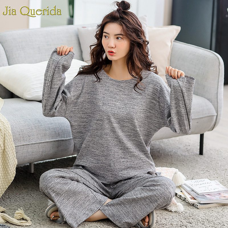 2019 New Loungewear For Women 100% Cotton Gray Sleeping Clothes O-neck Long Sleeves Wide Legs Autumn Winter Womens Pajamas Set