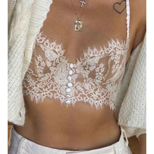 Cosmicchic 2020 Summer Fashion Sexy Underwear Outer Wear Women's Suspenders Lace Cutout Button Decoration Black White Crop Top
