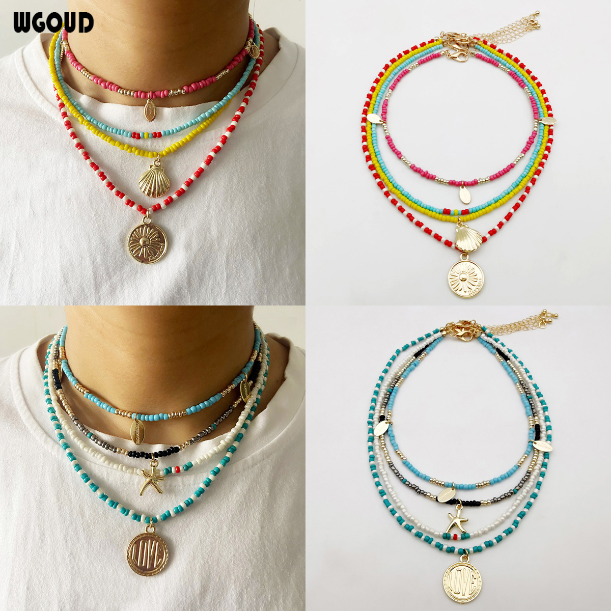 Handmade Multilayer Seed Bead Pendant Necklace Bohemian Fashion Chic Statement Collier Party Necklace Femme Women Dropshipping