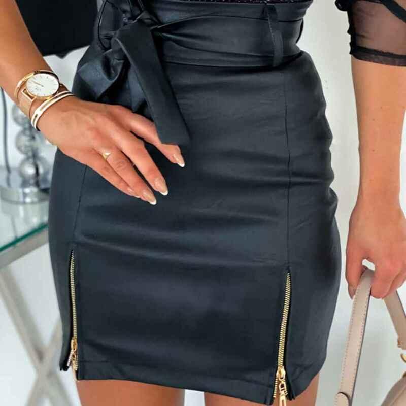 נשים עור מפוצל עיפרון חצאית קיץ סקסי שחור Bodycon גבוה מותן מיני Bottoms Bowknot רוכסן מוצק Slim קצר Vestidos