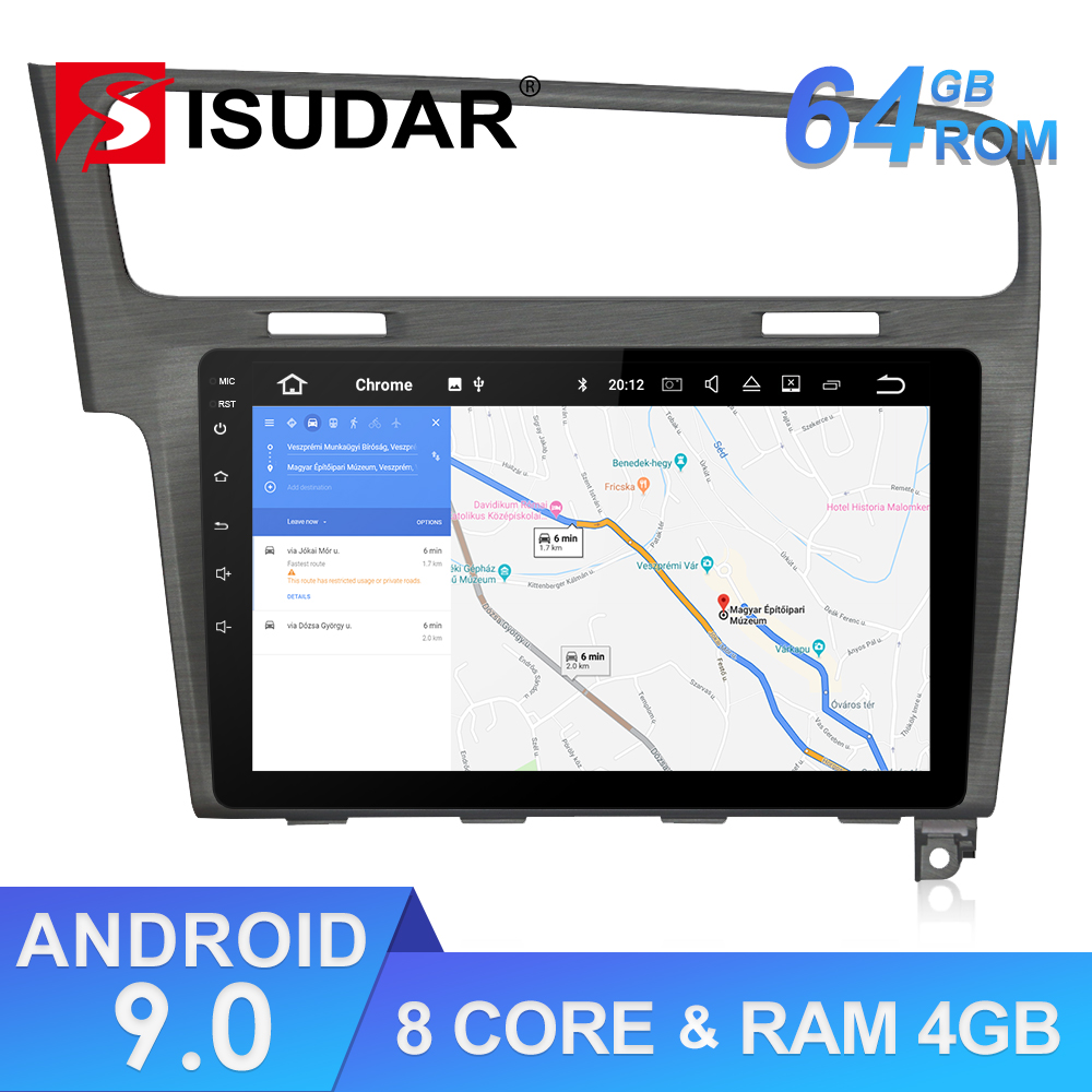Isudar 1 Din Automotivo Radio Android 9 For VW/Volkswagen/Golf 7 GPS Car Multimedia Player Octa Core RAM 4GB ROM 64GB DVR FM DSP image