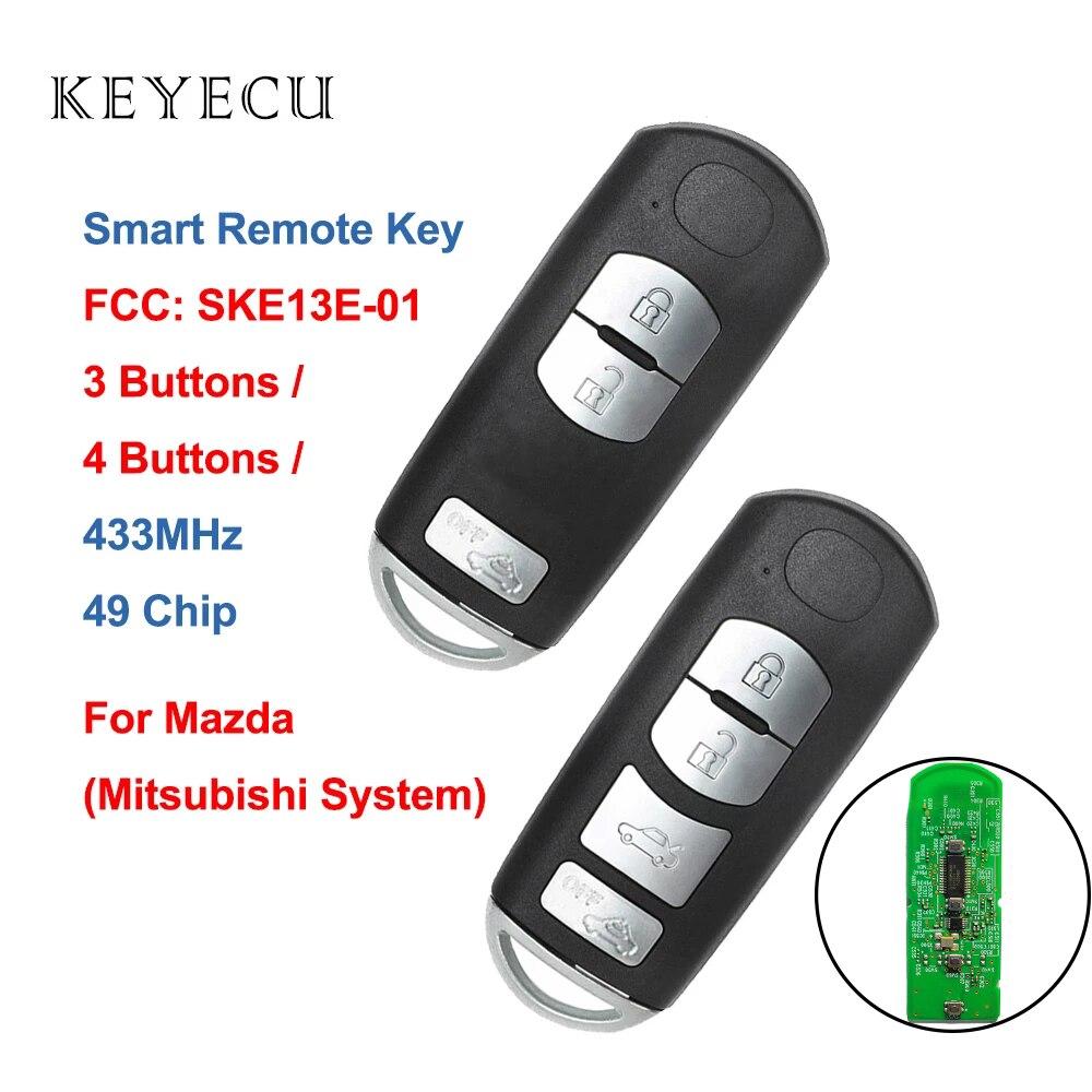 Смарт-дистанционный ключ-брелок от машины Keyecu, 3 4 кнопки, 433 мгц, с чипом 49 для Mazda (Mitsubishi System), 6, 3, 5, 5, 5, 4, 5, 5, 6, 3, 4, 5, 4, 4, 4, 4, 4, 4, 4, 4, 4, 4, 4, 4, 4, 4, для Mazda...
