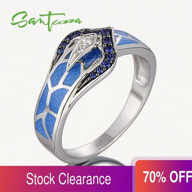 Anel de cobra de prata para as mulheres azul pedra azul artesanal esmalte anéis puro 925 prata esterlina moda jóias