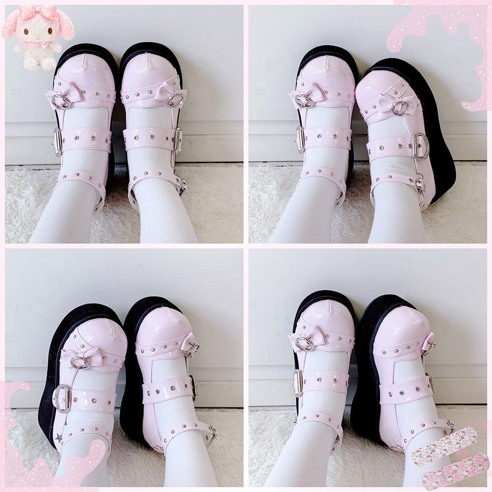 Kawaii Gothic Lolita Cute Bow Shoes 2
