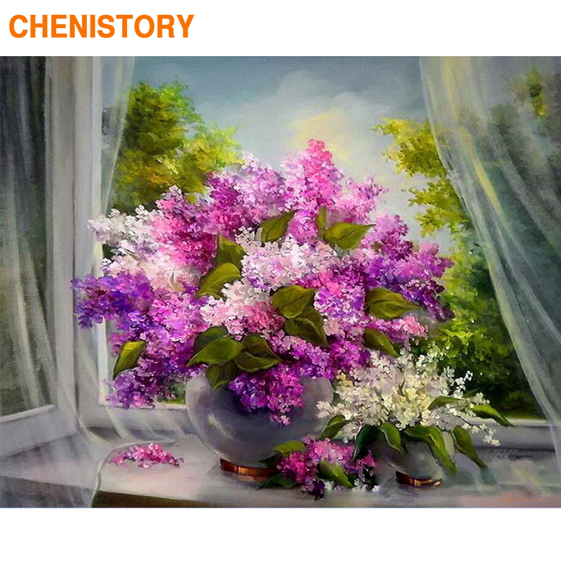 CHENISTORY Frame Violet DIY Painting By Numbers Kit Modern Wall Art Picture By Numbers Acrylic Canvas By Numbers For Home Decors