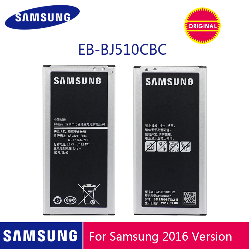 <font><b>SAMSUNG</b></font> Original Phone <font><b>Battery</b></font> EB-BJ510CBC 3100mAh For <font><b>Samsung</b></font> Galaxy J5 2016 Edition <font><b>J510</b></font> J510FN J510F J510G J510Y J510M image