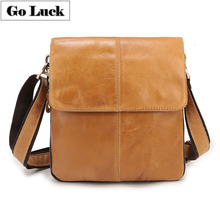 купить GO-LUCK Brand Casual Genuine Leather Men Messenger Bag Men's Cowhide Crossbody Shoulder Bag Slim Business Flap Zipper Ipad Pack дешево