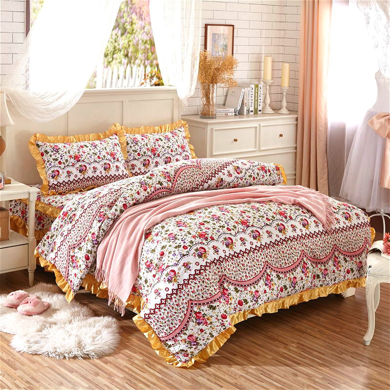 shabby chic floral duvet cover set 100 cotton soft bedding set with quilted cotton bedskirt pillow shams queen king size