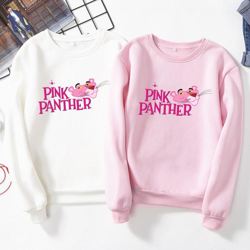 Dreamlikelin Kawaii Hoody For Women Autumn Winter Fleece Sweatshirt Cute Pink Panther Print Plus Size Women Fashion Clothes